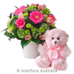 pink arrangment and teddy..$80