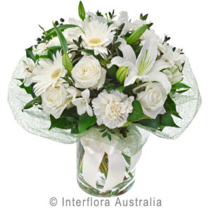 white bouquet in vase..$90